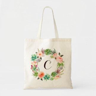 Bolsa Tote Monograma moderno da aguarela floral à moda