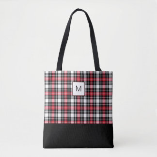 Bolsa Tote Monograma preto branco vermelho da xadrez