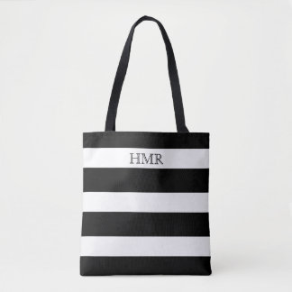 Bolsa Tote Monograma preto e branco corajoso da listra