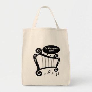 Bolsa Tote Monograma preto e branco da harpa