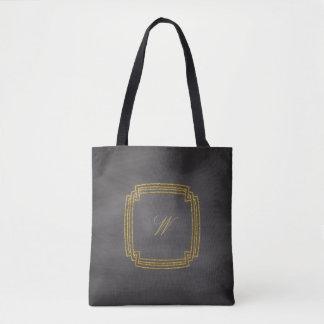 Bolsa Tote Monograma quadrado simples no quadro