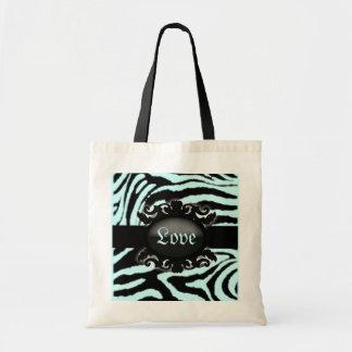 Bolsa Tote Monograma sofisticado do impressão da zebra
