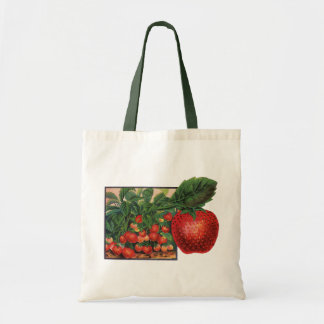 Bolsa Tote Morangos do vintage, plantas de morango em uma