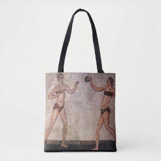 Bolsa Tote Mosaico antigo engraçado do voleibol de praia do
