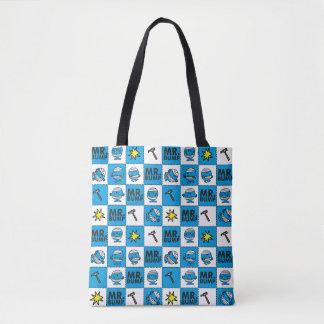 Bolsa Tote Mosaico do Sr. Colisão   no teste padrão azul