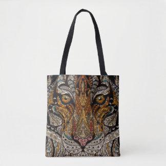 Bolsa Tote Mosaico tribal colorido da máscara do tigre