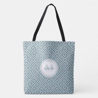 Bolsa Tote Motivo chave grego corajoso azul e cinzento do