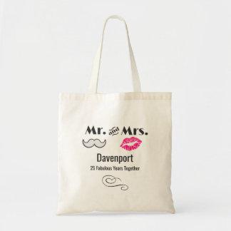 Bolsa Tote Moustache & lábios Sr. & Sra. - aniversário