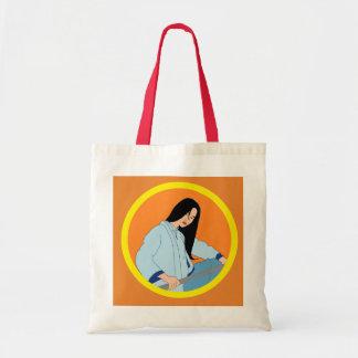 Bolsa Tote Mulher asiática sacola ilustrada