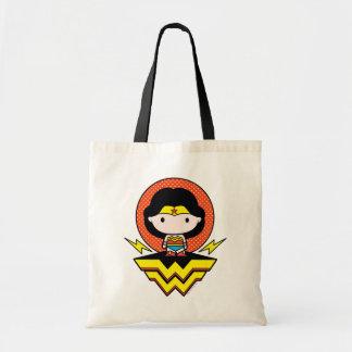 Bolsa Tote Mulher maravilha de Chibi com bolinhas e logotipo