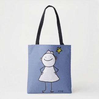 Bolsa Tote Mulher pequena feliz e forte com estrela