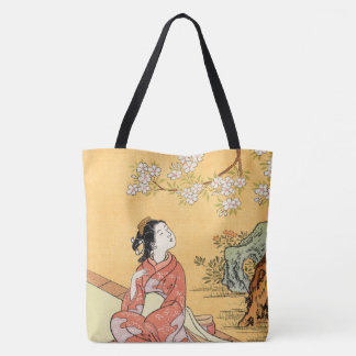 Bolsa Tote Mulher que senta-se sob as flores de cerejeira