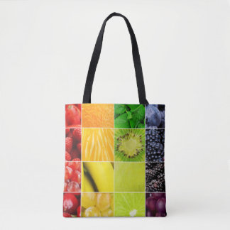 Bolsa Tote Multi colagem colorida da fruta