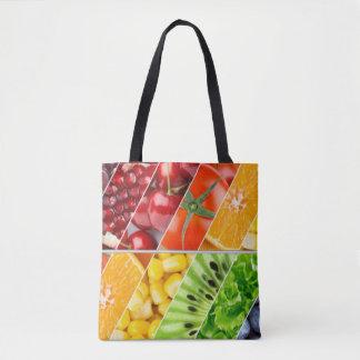 Bolsa Tote Multi colagem colorida do design da fruta