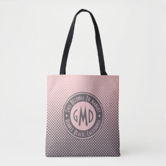 Bolsa Tote Na moda cinzento cor-de-rosa milenar do monograma
