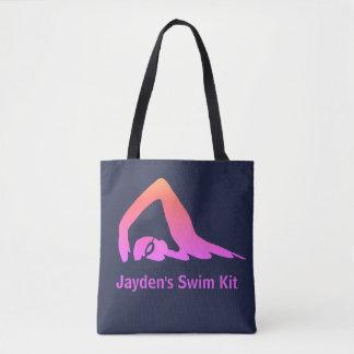 Bolsa Tote Nadador do estilo livre, rosa, jogo da natação,