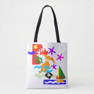Bolsa Tote Nadador do verão - sacola do Todo-Sobre-Impressão