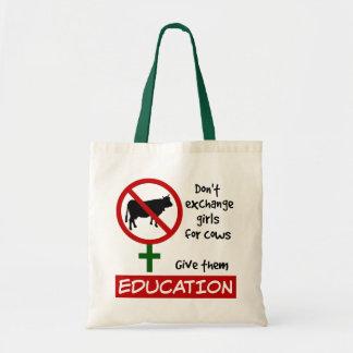 Bolsa Tote Não troque meninas por vacas, dão-lhes a educação