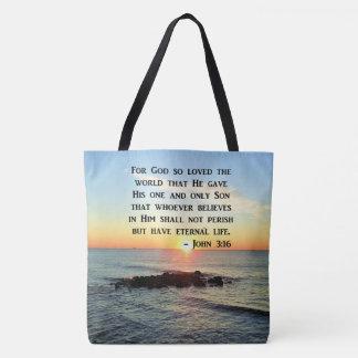 BOLSA TOTE NASCER DO SOL DO 3:16 DE JOHN NA FOTO DO OCEANO
