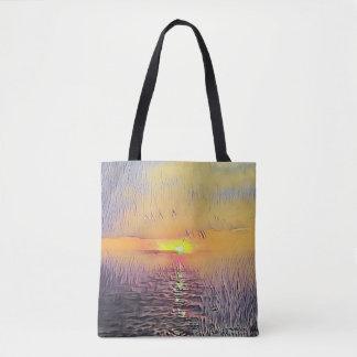 Bolsa Tote Nascer do sol pintado artístico bonito do Seascape
