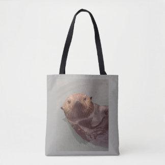 Bolsa Tote Natação bonito da vista para o mar da lontra de