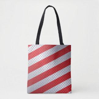 Bolsa Tote Natal Diamondplate com listras vermelhas
