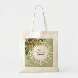 Bolsa Tote Natal vermelho das bagas da grinalda verde