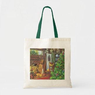 Bolsa Tote Natal vintage, cabana rústica de madeira acolhedor
