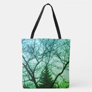 Bolsa Tote Natureza bonita das árvores azuis verdes