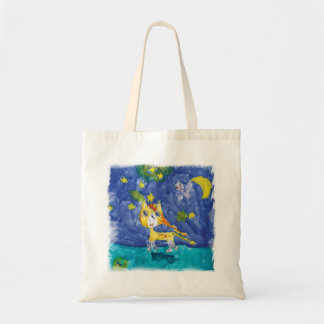 Bolsa Tote Noite estrelado Pegasus da aguarela com bastão