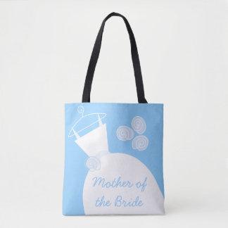 Bolsa Tote Noiva azul da mãe do vestido de casamento all over
