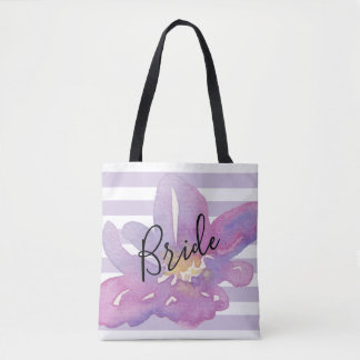 Bolsa Tote Noiva floral da lavanda violeta feita sob