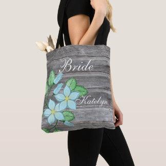 Bolsa Tote Noiva temático do país floral azul da aguarela
