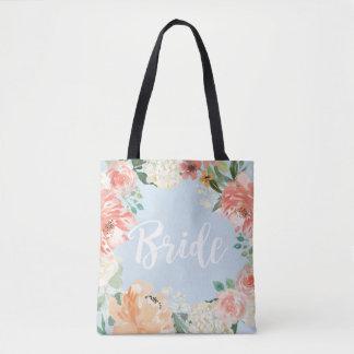 Bolsa Tote Noivas florais da aguarela do pêssego do casamento