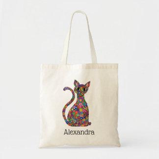Bolsa Tote Nome brilhante bonito do monograma do gato do