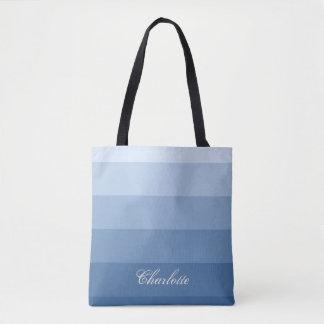 Bolsa Tote Nome calmo moderno do costume das listras azuis do