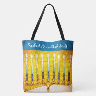 Bolsa Tote Nome do costume da foto do menorah de Hanukkah do