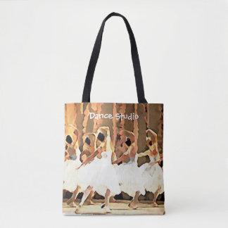 Bolsa Tote Nome do estúdio das bailarinas ou dança do texto