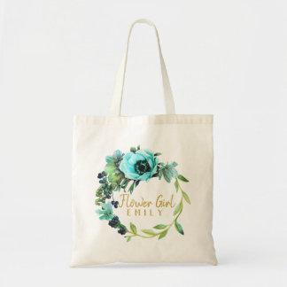 Bolsa Tote Nome ID456 do florista da grinalda da peônia da