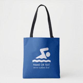 Bolsa Tote Nome nadador personalizado do nadador e da equipe