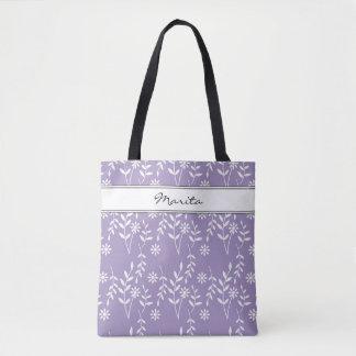 Bolsa Tote Nome ou algum teste padrão floral branco de