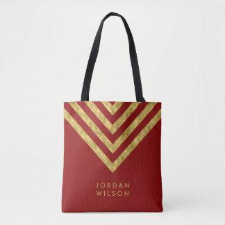 Bolsa Tote Nome vermelho elegante Chevron do ouro do falso