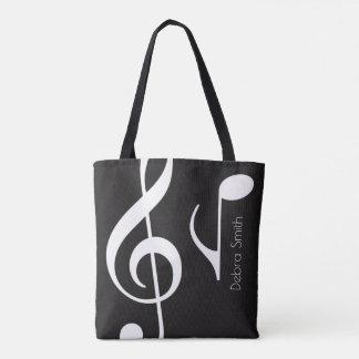Bolsa Tote nomeie com preto das notas musicais