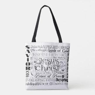 Bolsa Tote Nomes da sacola da tipografia de Jesus