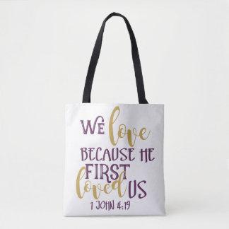 Bolsa Tote Nós amamos porque nos amou primeiramente sacola