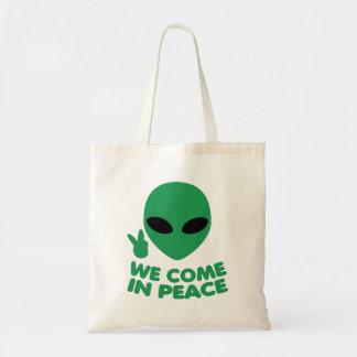 Bolsa Tote Nós vimos na alienígena da paz