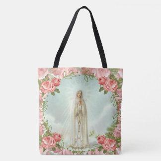 Bolsa Tote Nossa senhora de rosas cor-de-rosa de Fatima