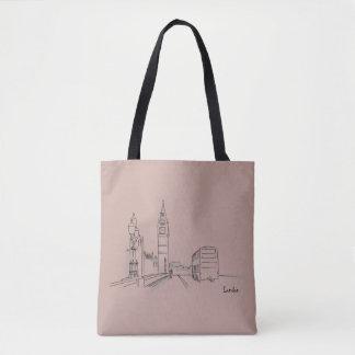 Bolsa Tote Nostálgico simples do desenho elegante de Londres