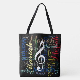 Bolsa Tote nota musical & nomes coloridos, pretos