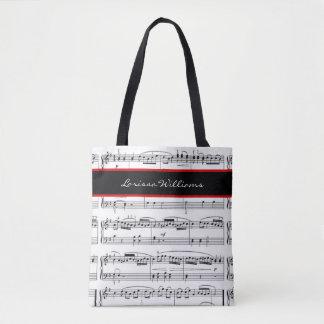 Bolsa Tote Notas da música de B/W com nome, costume